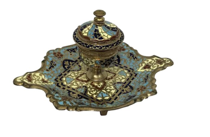 Cloisonne emaille inktpot - Brons, Emaille - Ca. 1880