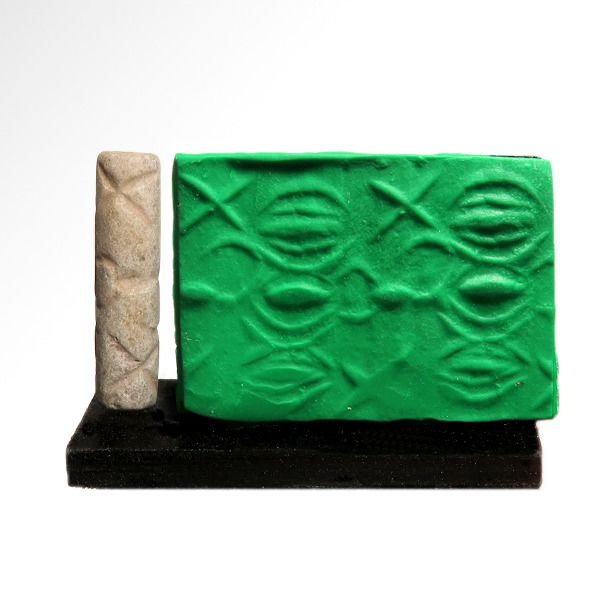 """Western Asiatic Stone Large Early Dynastic I 'Brocade Style"""" Cylinder Seal"""