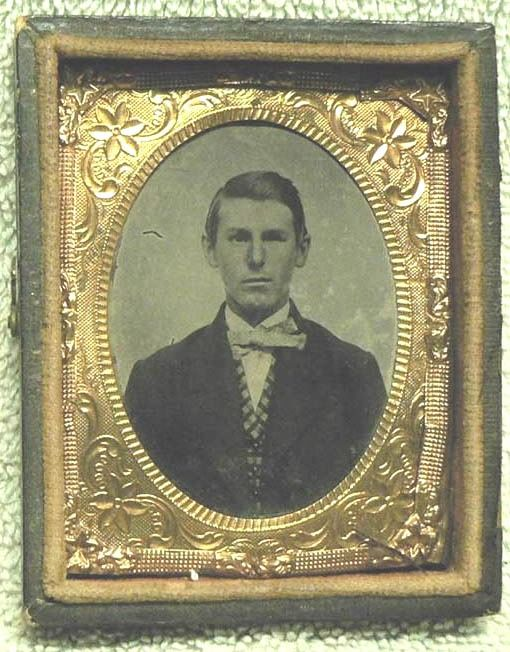 . Ferrotype/Tintype - Very old portrait frame of a gentleman- Early 19th century-Leather