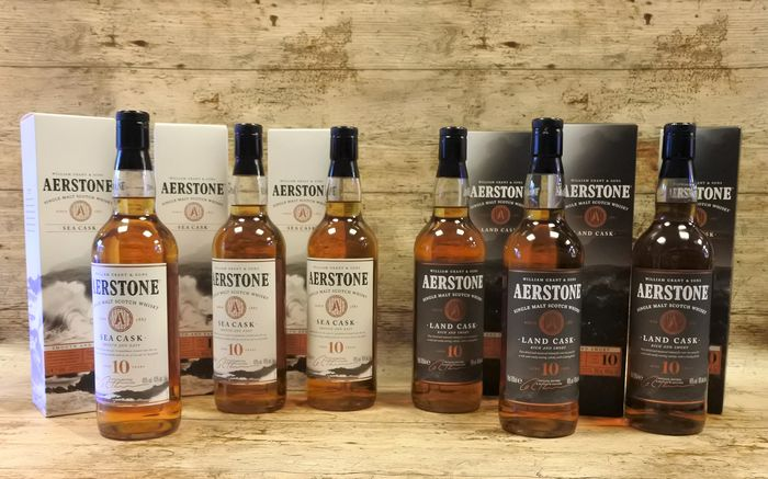 Aerstone 10 YO Sea Cask & 10 YO Land Cask in original boxes - 700ml - 6 bottles