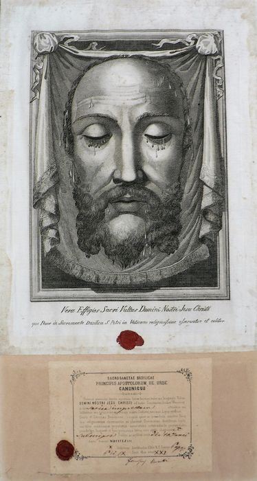 """Large relic """"Veil of Veronica"""" - Sweat cloth - Holy face of Jesus Christ - Vatican - Glass, Paper, Wood - anno 1867"""