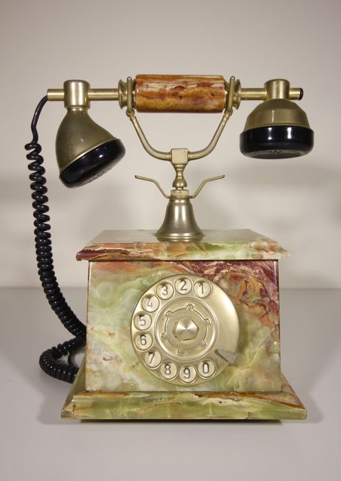 Desk telephone in onyx and brass - Onyx, brass and bakelite