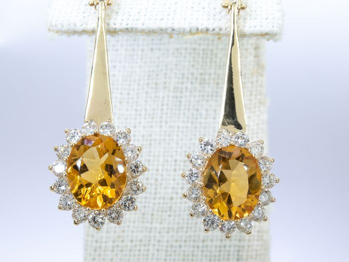 14 quilates Oro - Pendientes de diamantes y citrino de 6.88ct - 1.80ct de diamantes de talla brillante.