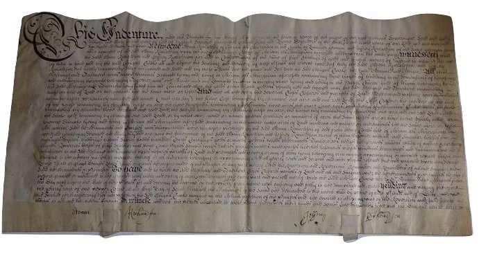 Manuscript; Indenture under the Reing of William of Orange - 1692