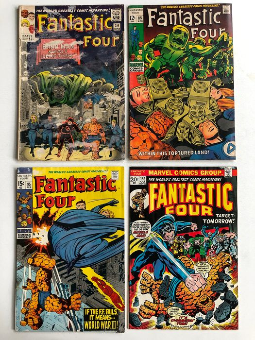 Fantastic Four #39, #85, #95 & #139 - Dr Doom, Daredevil, Appearance - Crystal Leaves Fantastic Four - Lower to Mid Grade!!! - Capa mole - Primeira edição - (1965/1973)
