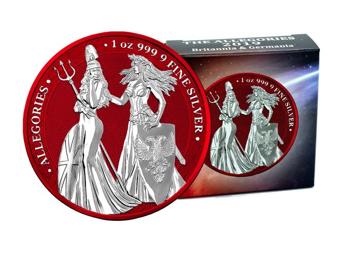 Deutschland - 5 Mark 2019- Allegories Britannia & Germania Space Red Edition - 1 Oz - Silber