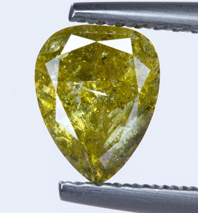 Diamant - 0.87 ct - Natural Fancy Green-Yellow  - I3  *NO RESERVE*