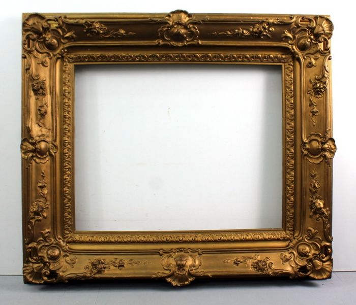 Heavy antique gold-plated picture frame - wood oak - Late 19th century
