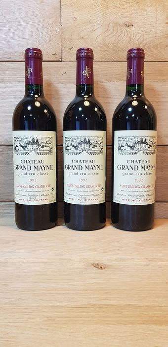 1992 Chateau Grand Mayne - Saint-Emilion Grand Cru Classé - 3 Bottles (0.75L)