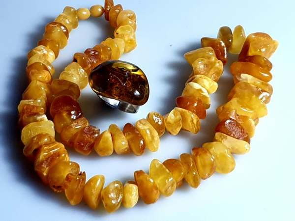925 Amber - Necklace, Ring, Vintage Baltic Amber Necklace, Natural Egg Yolk,Honey  - Natural (untreated)