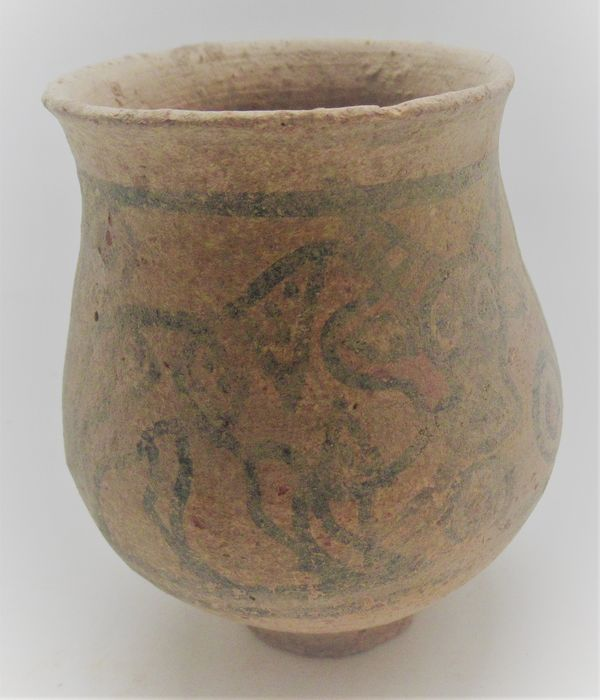 Indus Valley Terracotta Harappan vessel with stag motifs