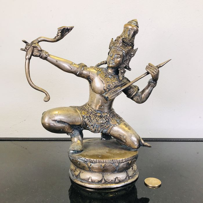 Extremely beautiful bronze statue of Rama with a bow - Bronze - Thailand - Second half 20th century