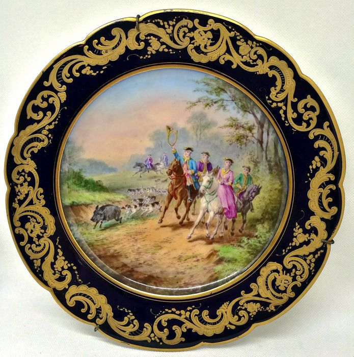 Sevres style - Important Finely Painted Plate - Porcelain