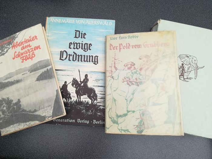Germany - Wartime, series for the youth - Book, 4x Children's Books Adventure Third Reich Germanic Africa