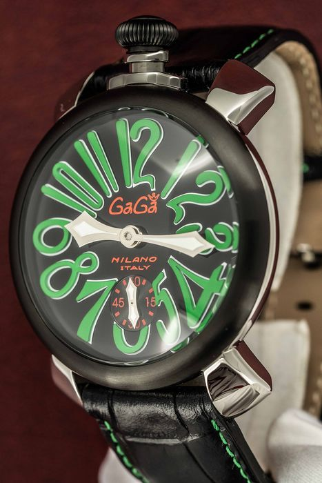 GaGà Milano - Mechanical Manuale 48MM Black and Green - 5013.02S - Unisex - BRAND NEW