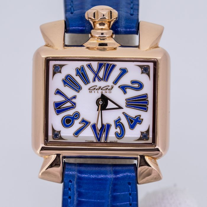 GaGà Milano - Watch Baby Napoleone 30MM Rose Gold White Mother of Pearl dial Swiss Made Blue Leather strap - 6036 - Women - BRAND NEW