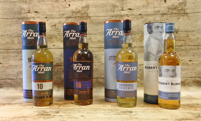 Arran 10 YO - 18 YO - Lochranza Reserve - Robert Burns - 700ml - 4 bottles