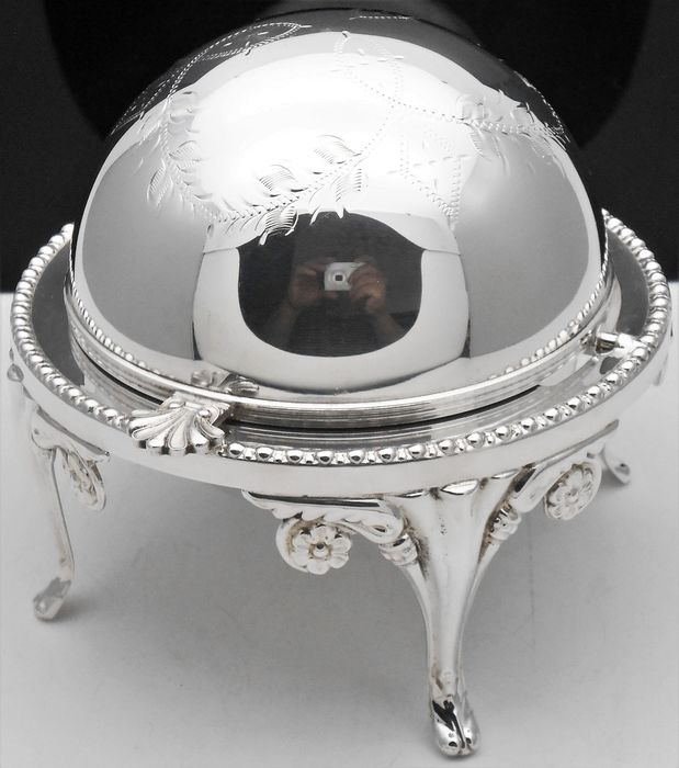 Caviar holder, roll top with original inner bowl - Silver plated