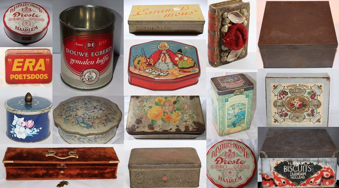 Douwe Egberts, Droste, Cote D'or, Verkade, Gebr. Pel, Niemeijer Tabak - ANTIQUE CANS, DRUMS AND BOXES (16) - Aluminium, Cardboard, Iron (cast/wrought), Textiles