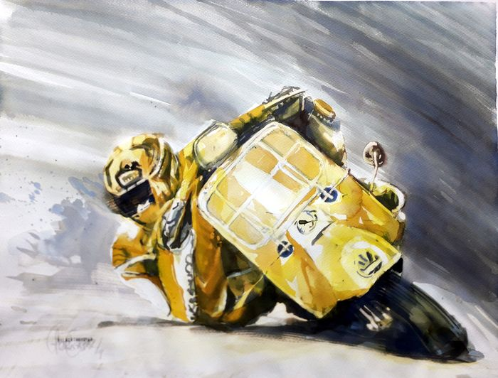 Original Aquarell von Gilberto Gaspar - Vespa - yellow race Vespa - 2019