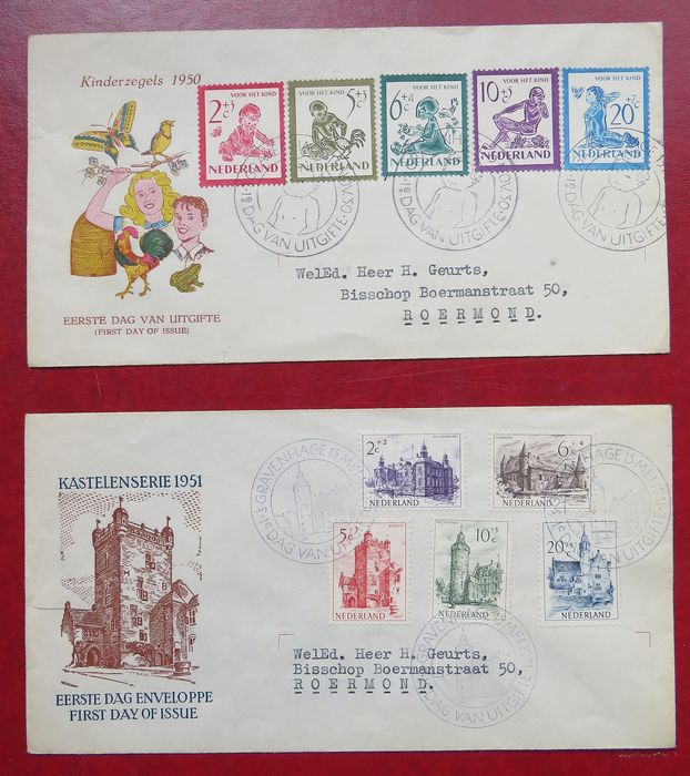 Netherlands 1950/1951 - FDC Summer and Children's Aid stamps - NVPH E4 + E5