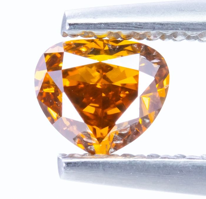Diamante - 0.30 ct - Laranja amarelada VIVID da fantasia natural - VS1  *NO RESERVE*