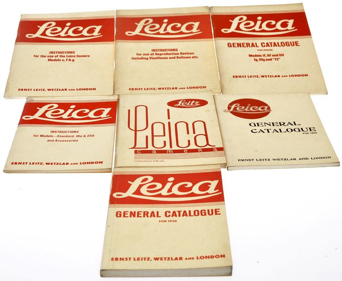 Leica (Leitz) lot of reprint of various Leica catalogues and instructions 7 booklet  English text, various years