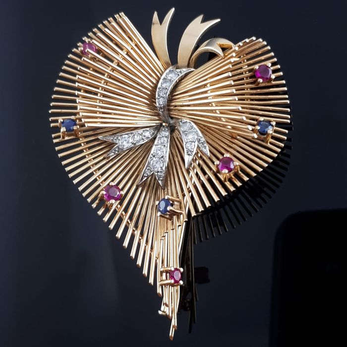 18 kt. Pink gold - Antique Hearth Brooch - 0.66 ct Diamond - sapphire &Ruby