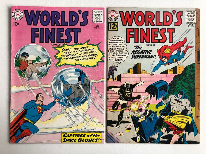 World's Finest #114 & #126 - Lex Luthor Appearance - Captives Of The Space Globes! - Higher Grade!! - Softcover - First edition - (1960/1962)
