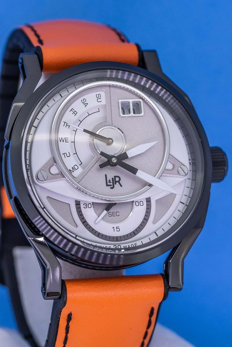 "L&Jr - Day and Date White Dial and Orange Strap Swiss Made - S1301-S5 ""NO RESERVE PRICE"" - Men - Brand New"