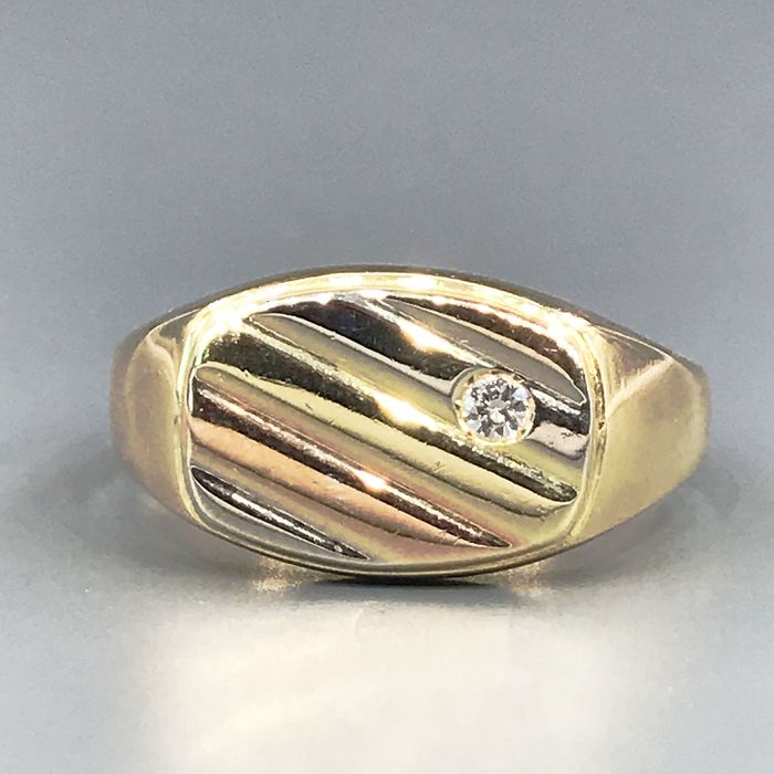 18 kt. Pink gold, White gold, Yellow gold - Ring - 0.03 ct Diamond