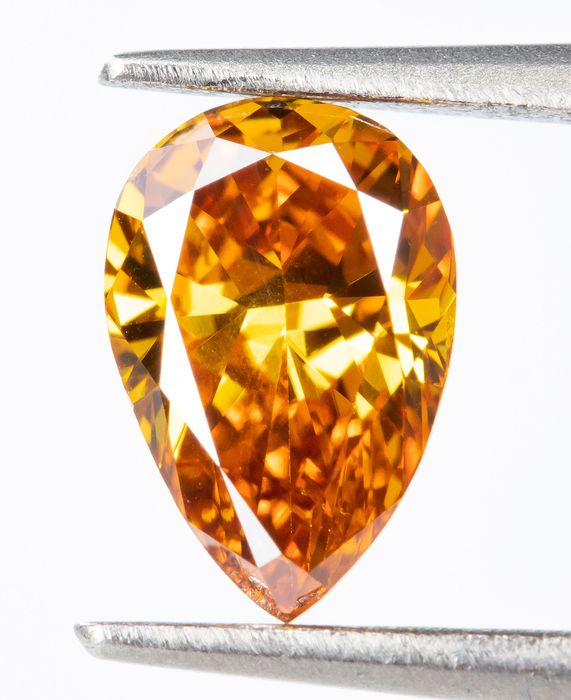 Diamant - 0.41 ct - Natural Fancy VIVID Orange-Gelb - VS2  *NO RESERVE*