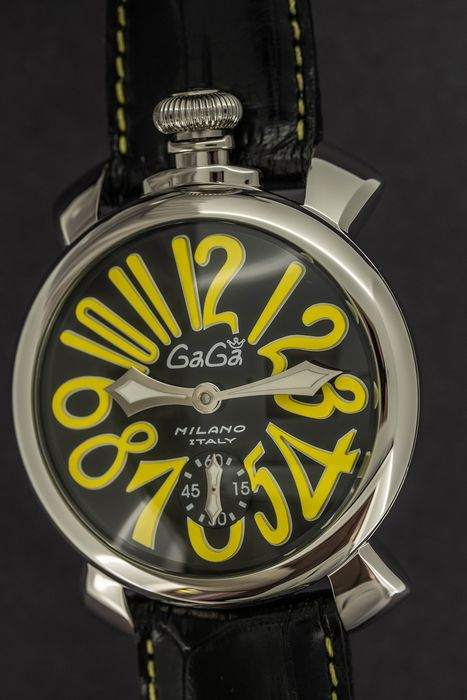 GaGà Milano - Mechanical Manuale 48MM Black and Yellow Steel Swiss Made - 5010.12S - Unisex - BRAND NEW