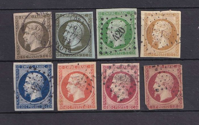 France 1852/1860 - Empire imperforate, complete series in various states - Yvert entre 11 & 18