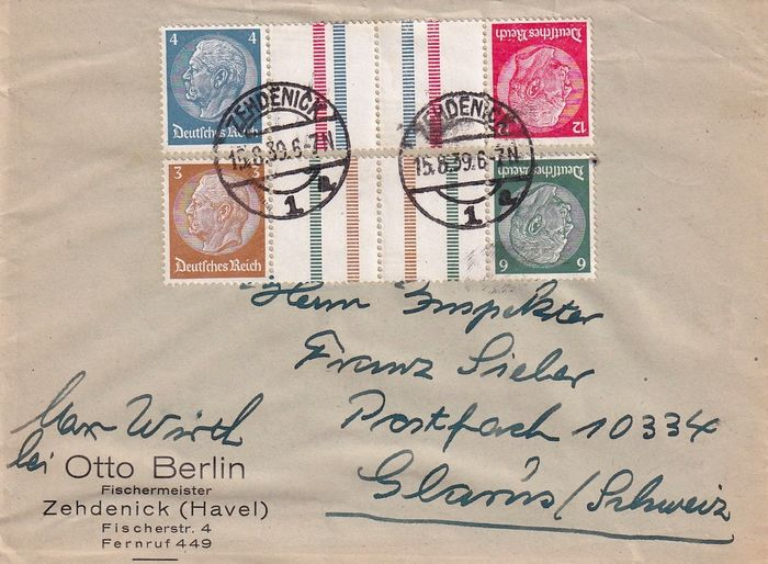 German Empire 1939 - Se-tenant on letter - Michel KZ 27.2