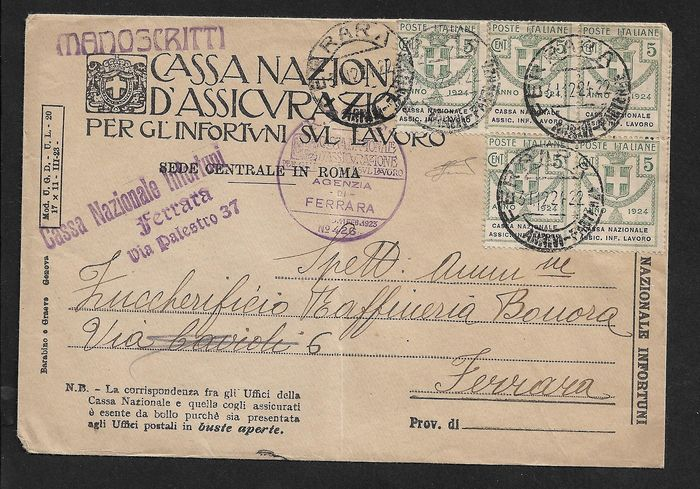 "Italy 1924 - Kingdom, State-controlled organisations, ""cassa naz. assic. inf. lavoro"", cents 5 x 5 pieces on a - Sassone N° 17."