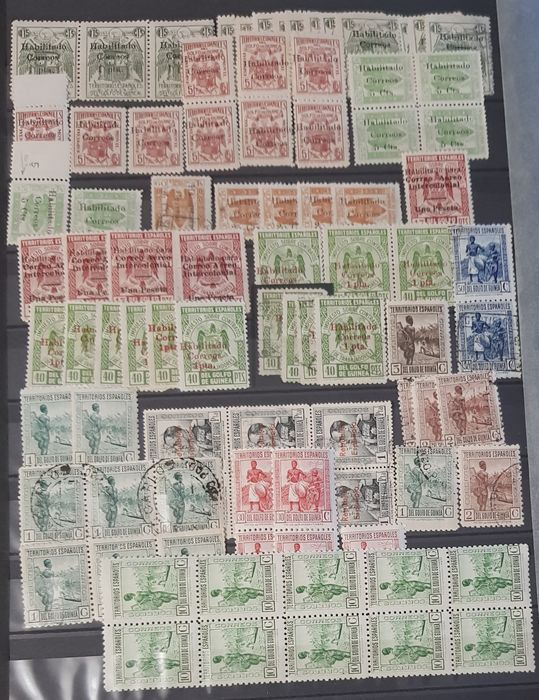 Spanish Colonies - Accumulation of loose stamps and blocks