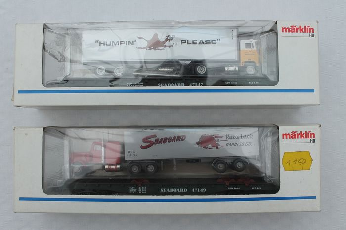 Märklin H0 - 4865 - Freight carriage - 2 heavy load wagons with American truck