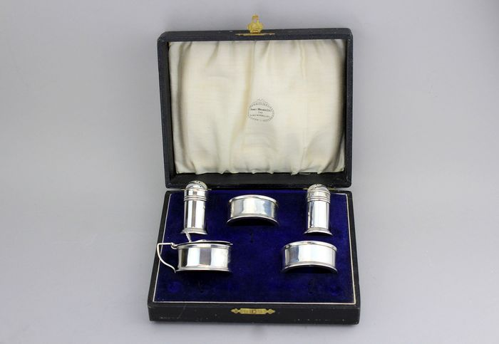 Antique condiment set (5) - Silver plated