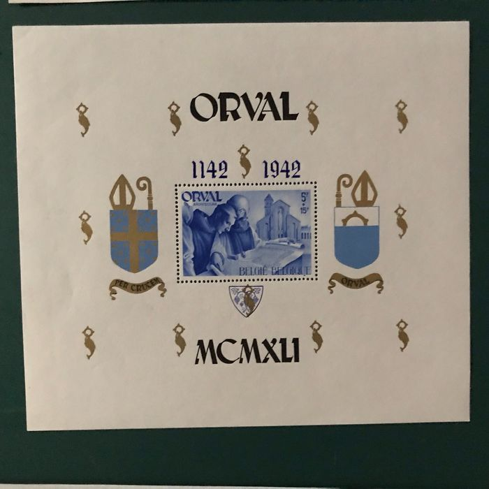 Belgium 1942 - Large Orval block with blue instead of red overprint - OBP / COB Blok 22 Cu