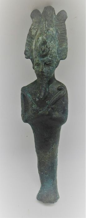 Ancient Egyptian Bronze statuette of Osiris. Crossed arms with atef