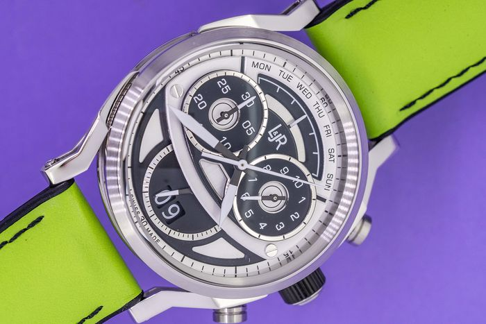 """L&Jr - Chronograph Day and Date Black and Grey Dial with Green Strap Swiss Made - S1503-S11 """"NO RESERVE PRICE"""" - Men - Brand New"""