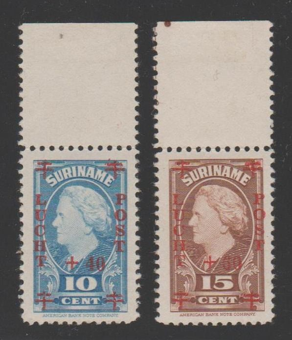 Surinam 1946 - Airmail Red Cross with overprint on the rear - NVPH LP27 + LP28