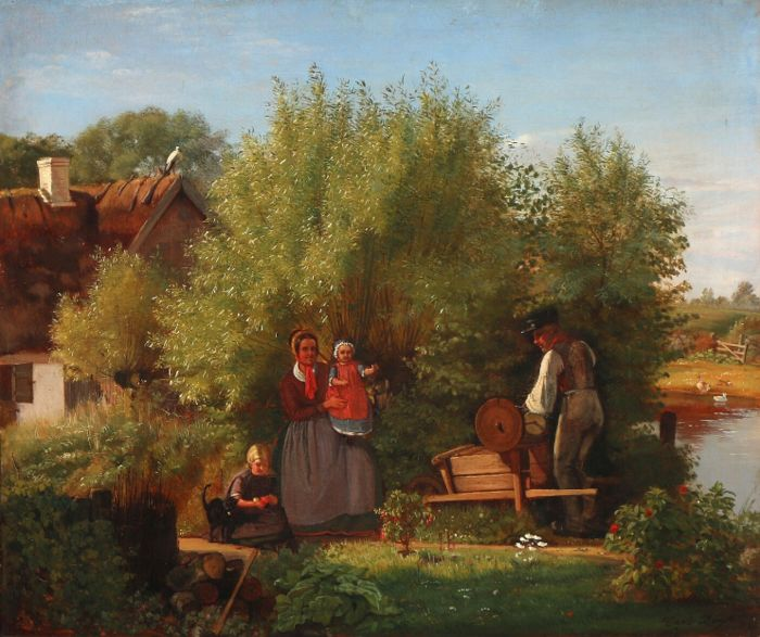 Carl Bøgh (1827-1893) - A farmers wife gets a visit from the grinder