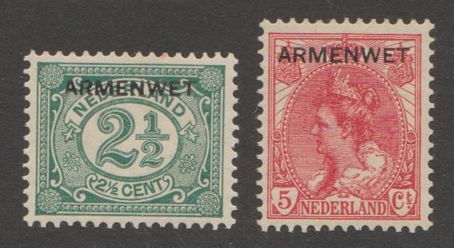 Países Bajos 1913 - Overprint 'Armenwet' with variety and plate error - NVPH D4f + D6