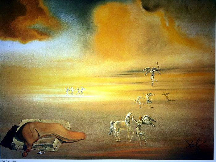 Salvador Dalí (After) - White Monster in an Angelic Lanscape