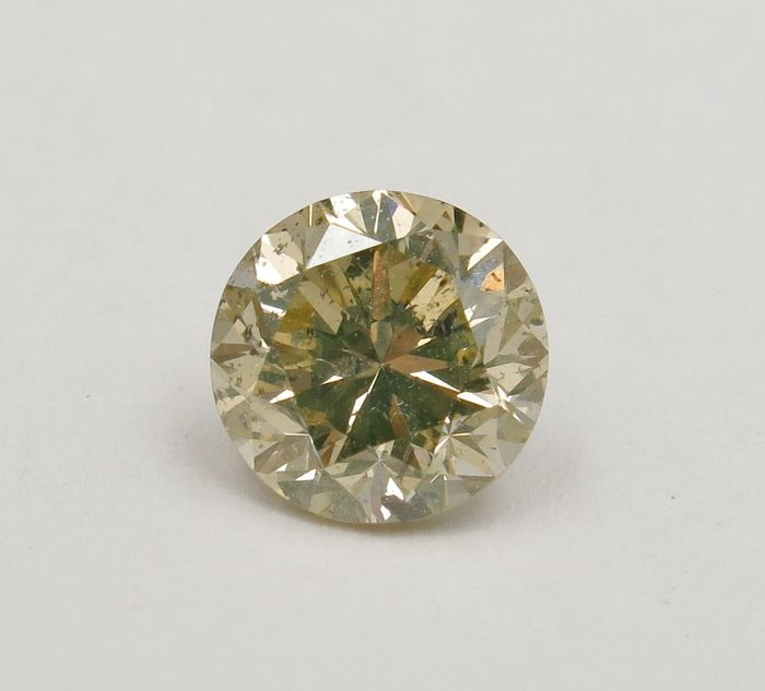 1 pcs Diamant - 1.21 ct - Rund - light brownish yellow - I1