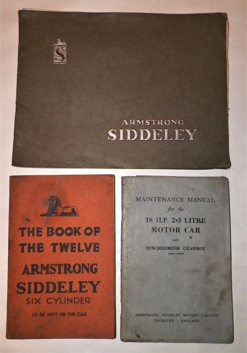 3 x Armstrong Siddeley Motor Books - 1933-1958