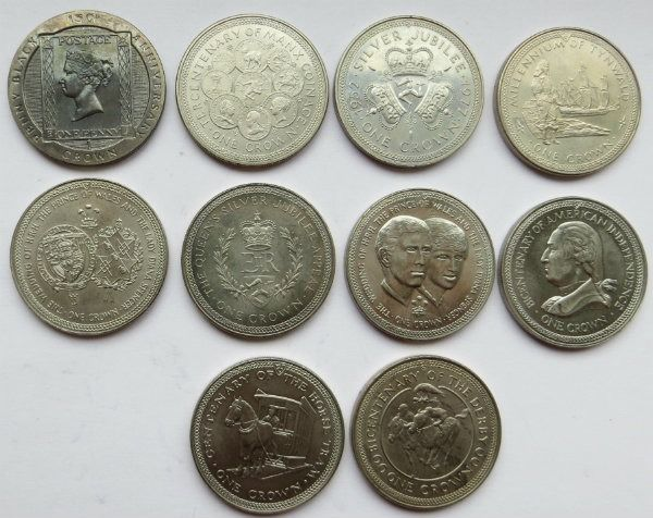 Man (Isle of Man) - 25 Pence/Crown 1976/1990 (10 different)