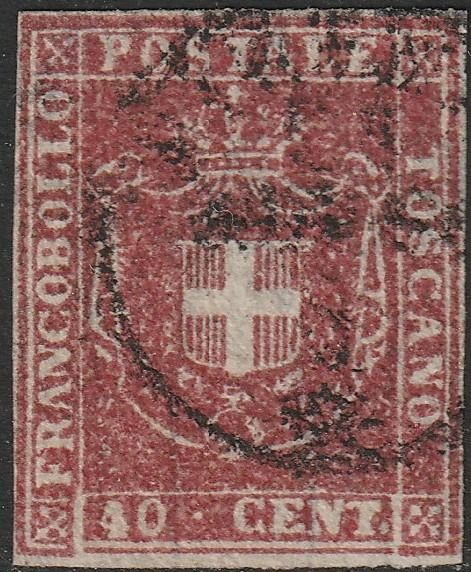 Tuscany 1860 - Provisional Government. 40 cents carmine, cancelled in Florence - Sassone n.21